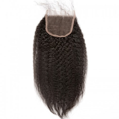 Image of Queena Vietnam 4x4 Transparent Lace Closure With 4 Bundles Human Hair Kinky Straight