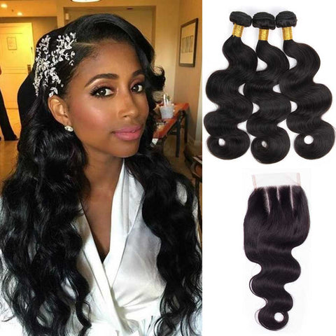 Queena 10A Brazilian Hair 3 Bundles With Lace Closure 100% Human Hair Body Wave