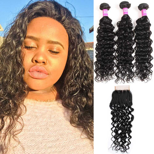 Brazilian Hair 3 Bundles With Lace Closure 100% Human Hair Water Wave
