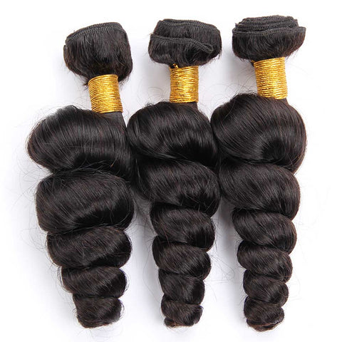 Image of Queena 10A Brazilian Hair 3 Bundles With Lace Closure 100% Human Hair Loose Wave