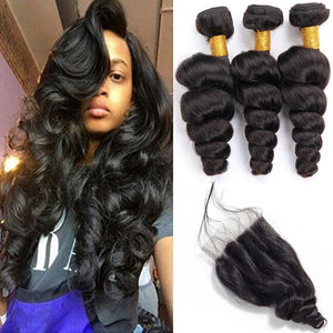 Queena 10A Brazilian Hair 3 Bundles With Lace Closure 100% Human Hair Loose Wave