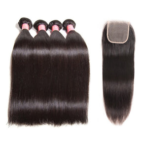 Queena Indian Straight 4 Bundles With 4x4 Transparent Lace Closure Free Part Hair