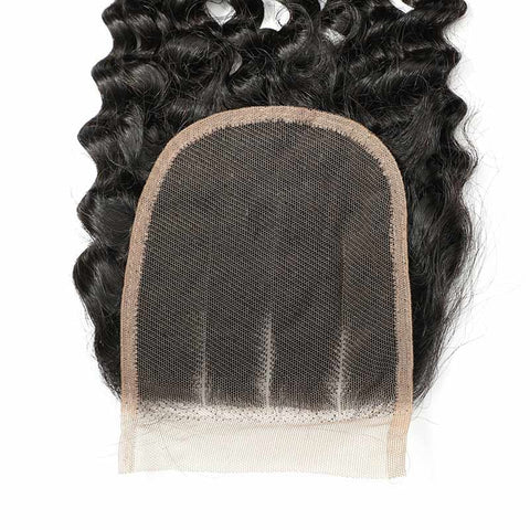 Soul Lady Indian Deep Curly 3 Bundles With Closure Virgin Hair On Sale