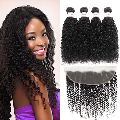 Image of Queena 13x4 Lace Frontal Closure With Kinky Curly 4 Bundles Brazilian Hair