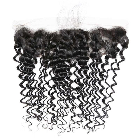 Image of Queena Vietnam Deep Wave Sew In Weave 3 Bundles With Lace Frontal Closure