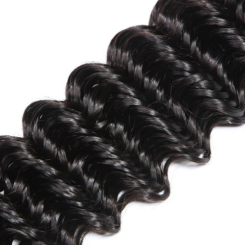 Image of Queena Vietnam Deep Wave Hair 4 Bundles With 13x4 Lace Frontal Closure