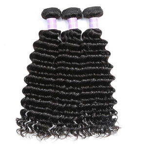Queena Vietnam Deep Wave Sew In Weave 3 Bundles With Lace Frontal Closure