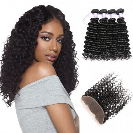 Queena 13x4 Lace Frontal Closure Piece With 4 Bundles Indian Deep Wave Hair