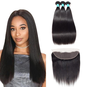 Queena Straight Brazilian Human Hair 3 Bundles With 13x4 Lace Frontal Closure