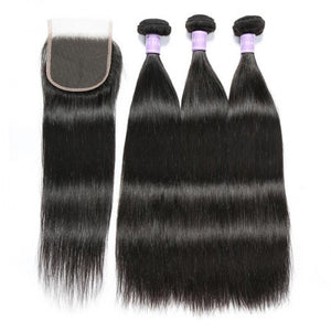 Soul Lady Straight Hair 3 Bundles With 4x4 Malaysian Transparent Lace Closure