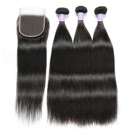 Image of Peruvian Straight Hair Weave 3 Bundles With 4x4 Lace Closure