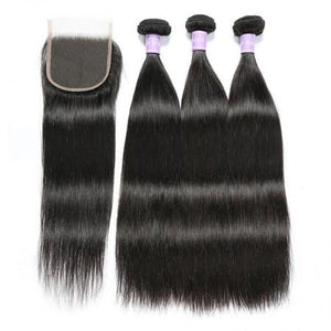 Peruvian Straight Hair Weave 3 Bundles With 4x4 Lace Closure