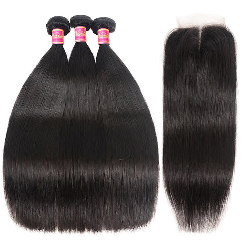 Image of Queena Peruvian Free Part 4x4 Transparent Lace Closure With 3 Bundles Straight Hair