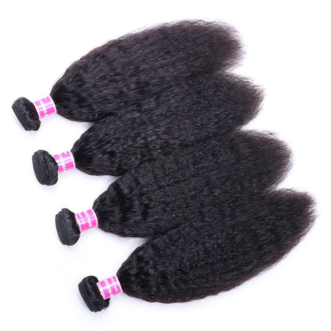 Queena 4 Bundles Kinky Straight With Malaysian Lace Frontal Closure Virgin Human Hair