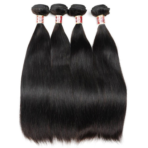 Image of Queena Brazilian Straight Hair 13x4 Lace Frontal With 4 Bundles
