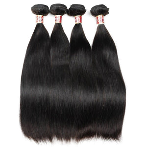 Queena Malaysian Straight Hair Ear To Ear 13x4 Lace Frontal With 4 Bundles