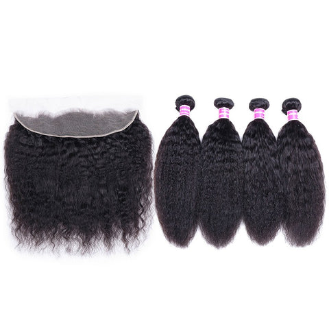 Image of Queena Vietnam Kinky Straight Hair Weave 4 Bundles With 13x4 Lace Frontal Closure