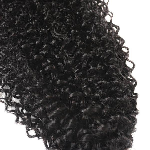 Image of Queena Peruvian Jerry Curly Human Hair 4 Bundles With 13x4 Lace Frontal Sew In
