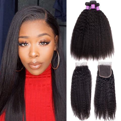 Queena 3 Bundles With 4x4 Transparent Lace Closure Malaysian Kinky Straight Hair