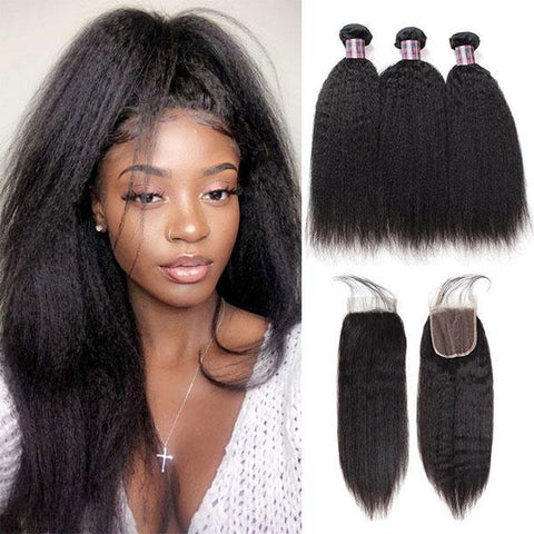 Image of Queena Vietnam Free Part 4x4 Transparent Lace Closure With 3 Bundles Kinky Straight Hair