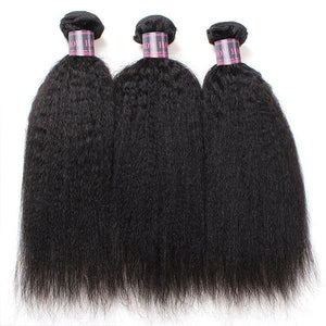 Queena Vietnam Free Part 4x4 Transparent Lace Closure With 3 Bundles Kinky Straight Hair