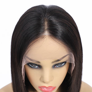 Short Straight Bob Wigs Brazilian Virgin Human Hair 13x4 Lace Frontal Wigs