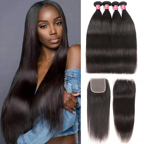 Image of Queena Indian Straight 4 Bundles With 4x4 Transparent Lace Closure Free Part Hair