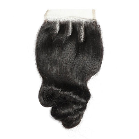 Image of Queena Vietnam Loose Wave 4 Bundles With Free Part 4x4 Transparent Lace Closure