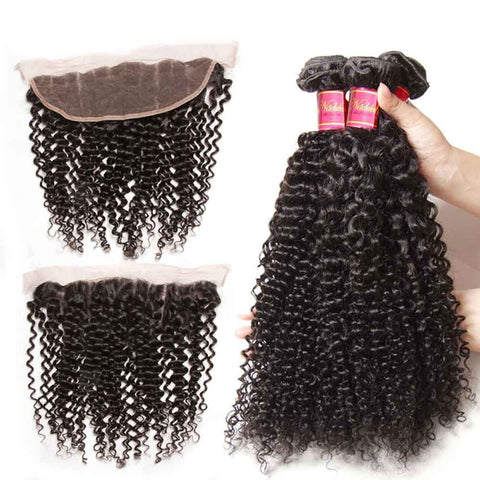 Image of Queena Indian Jerry Curly Hair Free Part 13x4 Lace Frontal Closure With 3 Bundles