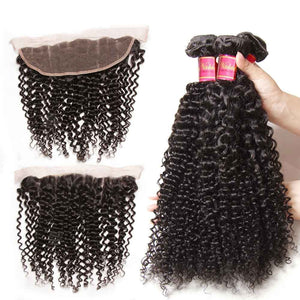 Queena Indian Jerry Curly Hair Free Part 13x4 Lace Frontal Closure With 3 Bundles