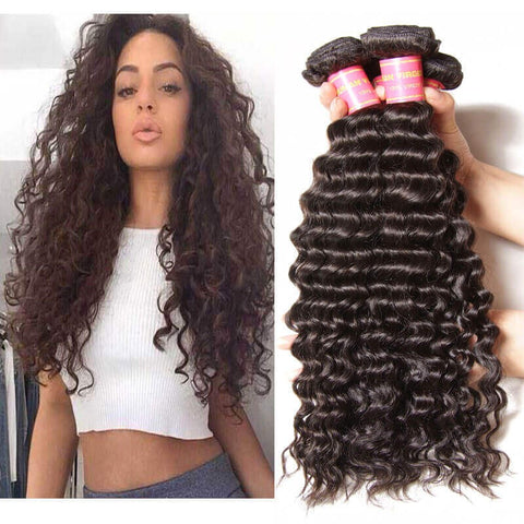 Image of Queena Vietnam Deep wave Virgin Hair 3 Bundles Human Hair Weave