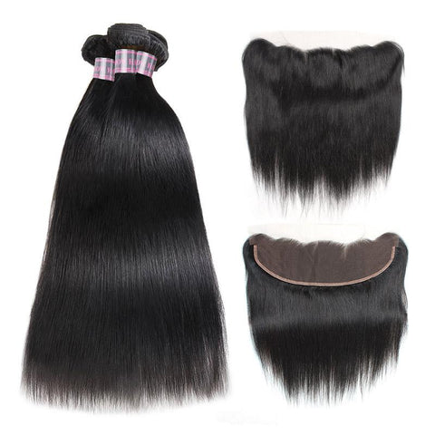 Image of Queena Brazilian 13x4 Transparent Lace Frontal With 3 Bundles Straight Human Hair