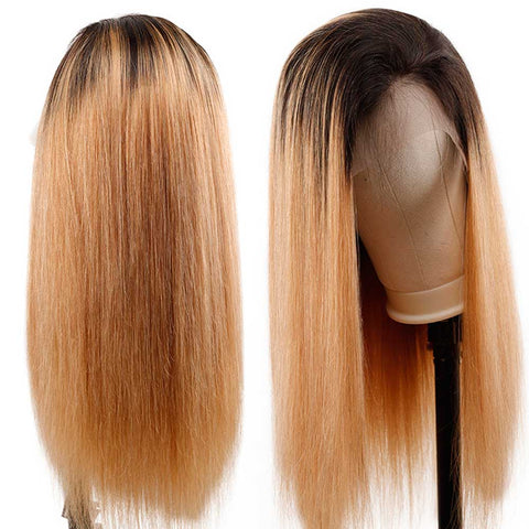 Queena Ombre 1B/27 Brazilian Lace Frontal Wig Straight Human Hair