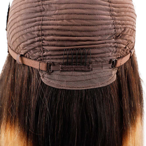 Image of Queena Ombre 1B/27 Brazilian Lace Frontal Wig Straight Human Hair