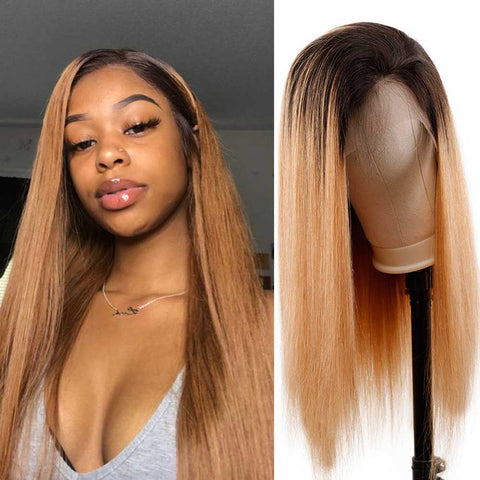 Image of Soul Lady Ombre 1B/27 Brazilian Lace Frontal Wig Straight Human Hair