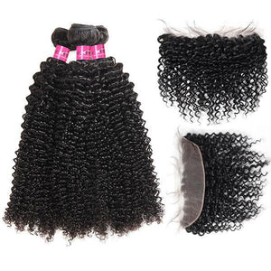 Queena Best New Kinky Curly 3 Bundles With 13x4 Lace Frontal Closure Vietnam Hair