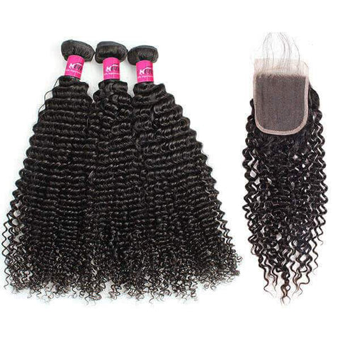 Soul Lady Malaysian Deep Curly Closure With 3Bundles Virgin Human Hair Weave