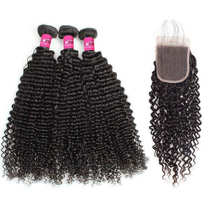 Queena Malaysian Deep Curly Closure With 3Bundles Virgin Human Hair Weave