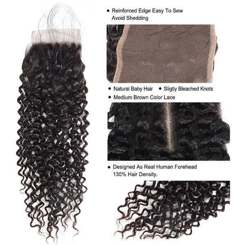 Image of Queena Best Lace Closure With 3Bundles Deep Curly Vietnam Human Hair