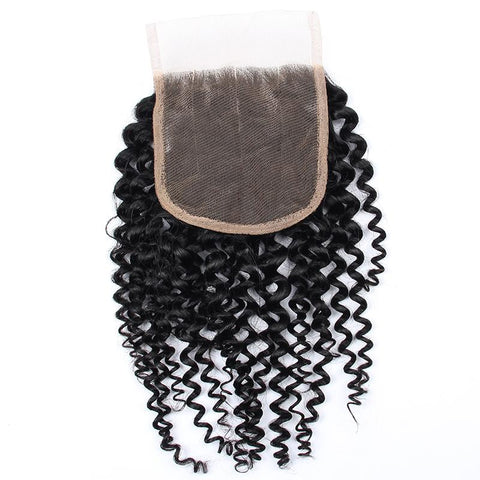 Image of Queena Jerry Curly Hair 3 Bundles With 4x4 Lace Closure Peruvian Hair