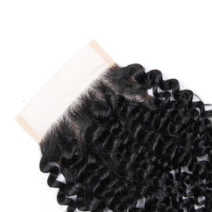 Queena Jerry Curly Hair 3 Bundles With 4x4 Lace Closure Peruvian Hair