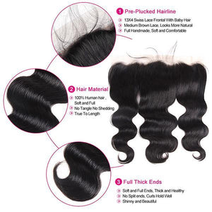 Queena Best Indian Hair Body Wave 3 Bundles With 13x4 Lace Frontal Closure