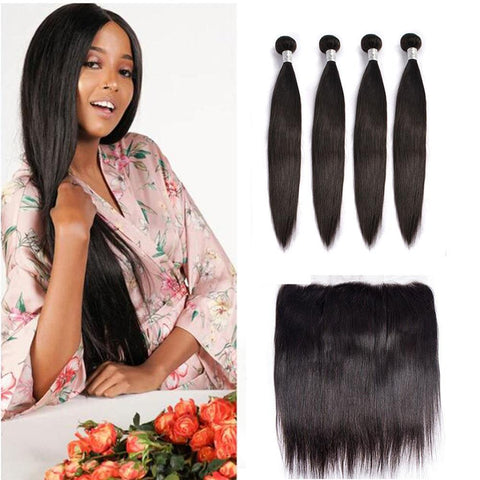 Image of Queena Peruvian 4 Bundles With 13x4 Lace Frontal Closure Straight Hair Natural Color
