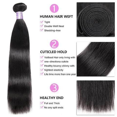 Image of Queena Peruvian Straight  Virgin Hair 4 Bundles Human Hair Weave