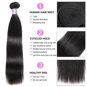 Queena Free Part 4x4 HD Lace Closure With 3 Bundles Vietnam Straight Hair