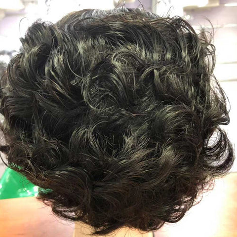 Brazilian Human Hair Short Bob Wigs Finger Wave Machine Made Glueless