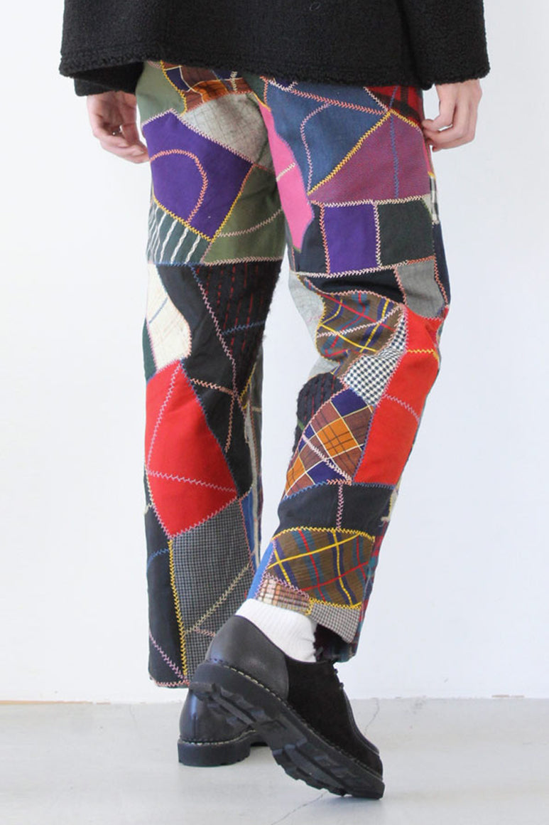 PATCHWORK SIDE-TIE TROUSER / MULTI