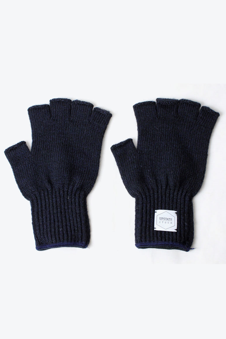 FINGERLESS RAGG WOOL GLOVE / NAVY MELANGE