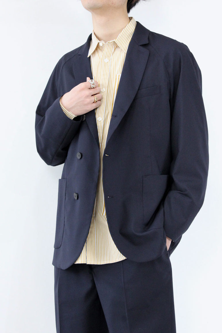 WASHABLE WOOL SET UP JACKET / NAVY