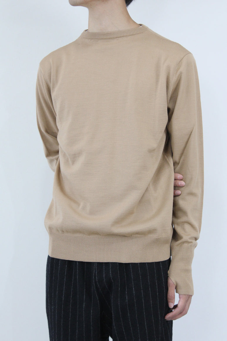FINE GAUGE MERINO WOOL CREW NECK SWEATER / CAMEL [30%OFF]